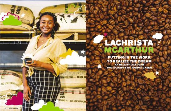Edición de la revista Barista Octubre + noviembre de 2021 Artículo de portada: LaChrista McArthur